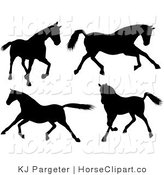 Clip Art of a Group of of Four Silhouetted Horses Walking, Running and Galloping by KJ Pargeter