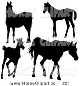 Clip Art of a Group of Silhouetted Horses Gazing, Standing, Running and Walking by Dero