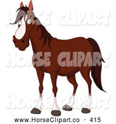 Clip Art of a Handsome Cartoon Brown and White Horse by Yayayoyo