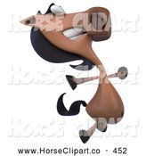 Clip Art of a Happy 3d Charlie Horse Character Jumping by Julos