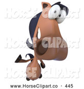 Clip Art of a Happy 3d Horse Character Waving by Julos