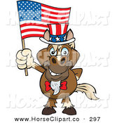 Clip Art of a Happy and Patriotic Uncle Sam Horse Waving an American Flag on Independence Day by Dennis Holmes Designs