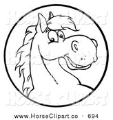Clip Art of a Happy Black and White Horse Face in a Circle by Hit Toon