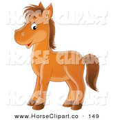Clip Art of a Happy Brown Pony Horse Facing to the Left and Glancing at the Viewer by Alex Bannykh