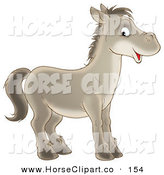 Clip Art of a Happy Gray Horse Looking to the Right and Glancing at the Viewer by Alex Bannykh