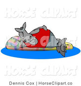 Clip Art of a Happy Gray Horse Relaxing on a Floatation in a Swimming Pool by Djart