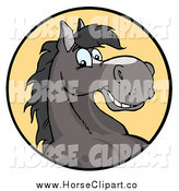 Clip Art of a Happy Gray Horse Smiling in a Yellow Circle by Hit Toon