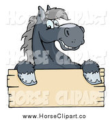 Clip Art of a Happy Gray Horse Smiling over a Blank Wood Sign by Hit Toon