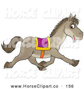 Clip Art of a Happy Gray Saddled Horse Glancing at the Viewer While Running Right by Alex Bannykh
