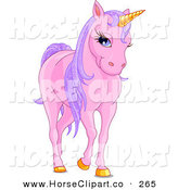 Clip Art of a Happy Pink Unicorn with Golden Hooves and Horn and Sparkly Purple Hair by Pushkin