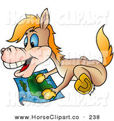 Clip Art of a Happy Tan Horse Gazing at a Map by Dero