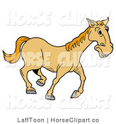 Clip Art of a Happy Yellow Horse Trotting Right on a Farm by LaffToon