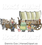 Clip Art of a Historical Family of Pioneer Settlers Standing with Their Pig in Front of Two Horses Pulling a Covered Wagon Along the Oregon Trail by Djart