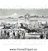 Clip Art of a Historical Horse Race Scene by JVPD