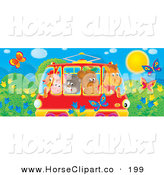 Clip Art of a Horse, Bear, Cat, Pig and Chicken Friends Crowded into a Rail Car, Passing a Meadow with Butterflies and Flowers by Alex Bannykh