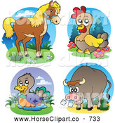 Clip Art of a Horse, Chicken, Duck and Bull by Visekart