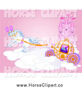 Clip Art of a Horse Drawn Carriage on a Fairy Tale Cloud by a Castle by Pushkin