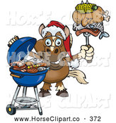 Clip Art of a Horse Grilling While Wearing a Santa Hat and Holding Cooked Meats on a BBQ Fork by Dennis Holmes Designs