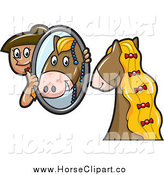 Clip Art of a Horse Groomer Holding up a Mirror by Jtoons