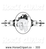 Clip Art of a Horse Head Knight Cameo Website Header Border by C Charley-Franzwa