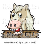 Clip Art of a Horse over a Wooden Mister Ed Sign by Jtoons