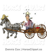 Clip Art of a Horse Pulling a Farmer on a Wooden Wagon by Djart