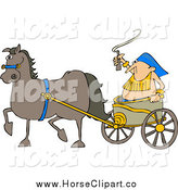 Clip Art of a Horse Pulling a Fat Guy in a Chariot by Djart