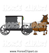 Clip Art of a Horse Pulling an Amish Buggy by Djart
