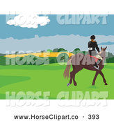 July 31st, 2013: Clip Art of a Horse Rider in a Field on White by Prawny