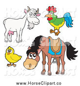 Clip Art of a Horse Rooster Chick and Goat by Visekart