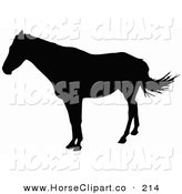 Clip Art of a Horse Standing and Facing to the Left and Silhouetted in Black by Dero
