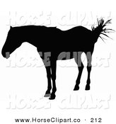 Clip Art of a Horse Swishing Its Tail and Silhouetted in Black and Looking Left by Dero