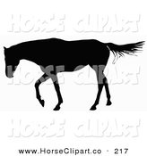Clip Art of a Horse Walking to the Left and Silhouetted in Black over White by Dero