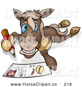 Clip Art of a Horse Writing a Message on a Post Card to a Friend by Dero