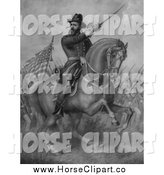 Clip Art of a Horseback General Benjamin Harrison by JVPD