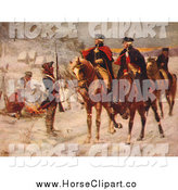 Clip Art of a Horseback George Washington and Marquis De Lafayette at Valley Forge by JVPD