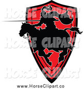 Clip Art of a Horseback Silhouetted Knight with a Lance over a Red Shield by Chromaco