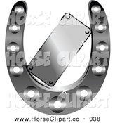 Clip Art of a Horseshoe and Label by Vector Tradition SM