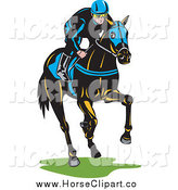 Clip Art of a Jockey Racing a Horse by Patrimonio
