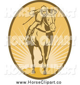 Clip Art of a Jockey Racing a Horse in an Oval of Rays by Patrimonio