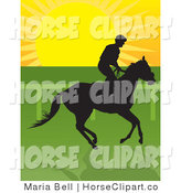 Clip Art of a Jockey Riding a Horse and Silhouetted in Black Against the Sunrise by Maria Bell