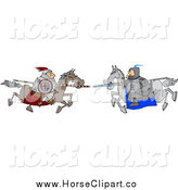 Clip Art of a Jousting Knight Opponents Racing Towards Eachother with Lances by Djart