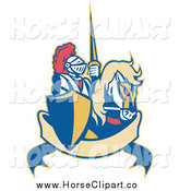 Clip Art of a Knight and Steed over a Banner by Patrimonio