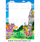 Clip Art of a Knight and Steed with a Dragon and Castle Frame Around White Space by Visekart