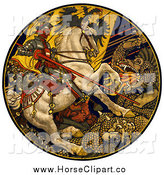 Clip Art of a Knight on a Horse, Battling a Dragon Under an Austro-Hungarian Banner by JVPD