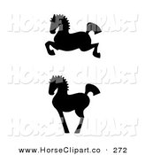 Clip Art of a Leaping and Proud Black Silhouetted Oriental Horses in Profile on White by C Charley-Franzwa