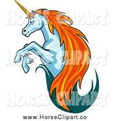 Clip Art of a Leaping Unicorn with a Trail of Teal and Red Hair by Vector Tradition SM