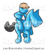 Clip Art of a Light Blue Man, a Jockey, Riding on a Matching Race Horse and Racing in a Derby by Leo Blanchette