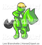 Clip Art of a Lime Green Man, a Jockey, Riding on a Matching Race Horse and Racing in a Derby by Leo Blanchette