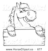 Clip Art of a Lineart Happy Horse Looking over a Blank Wood Sign by Hit Toon